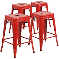 Flash Furniture 4 Pk. 24'' High Backless Red Metal...