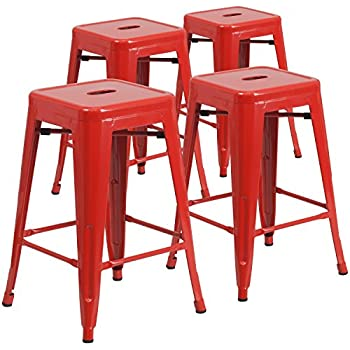 Flash Furniture 4 Pk. 24u0027u0027 High Backless Red Metal Indoor-Outdoor Counter  sc 1 st  Amazon.com : bar stools metal - islam-shia.org