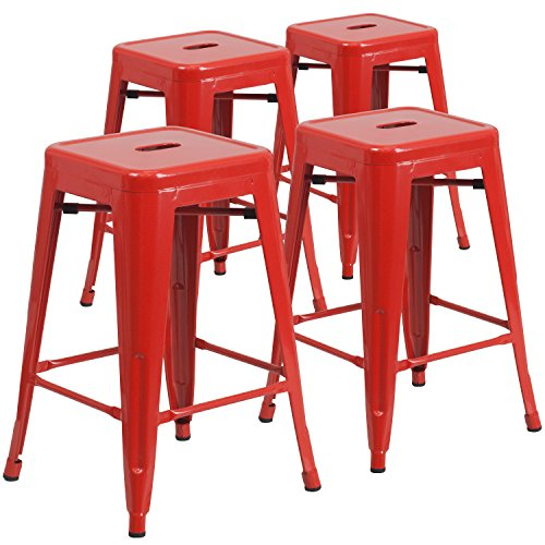 Flash Furniture 4 Pk. 24'' High Backless Red Metal Indoor-Outdoor Counter Height Stool with Square Seat Bar Stool Red Seat Assembled