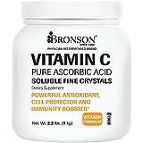 Bronson Labs: Non-GMO Vitamin C Crystals (Powder), 1 Kilo, 2.2 Lbs, or 35.3 Ounces, Premium Pure GMO Free Ascorbic Acid Soluble Fine Crystals Vitamin C Powder, Made in USA