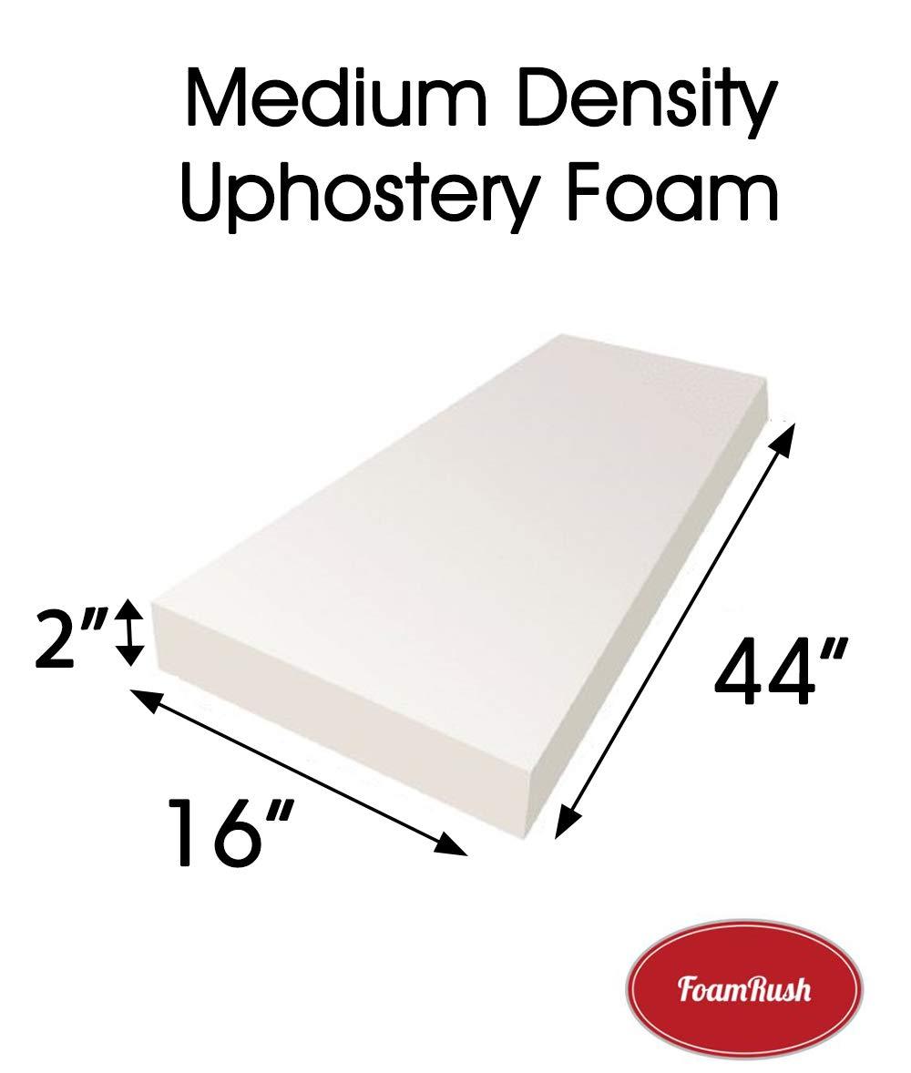 FoamRush 2' H x 16' W x 44' L Upholstery Foam Cushion Medium Density (Chair Cushion Bench Foam for Dinning Chairs, Bench Seat Cushion Replacement, Foam Rubber Padding)