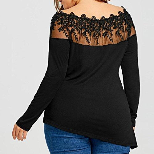 low cost ESAILQ Größe Frauen Spitze Patchwork Shirt Langarm