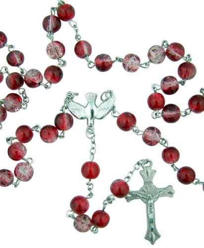 Glass Dove Necklace - CB Catholic Teen Confirmation Gift 8MM Red Crackle Glass Bead Holy Dove Center 21 Inch Rosary Necklace