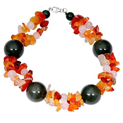 Sterling Silver Bracelet For Women | Multi Birthstone Bracelet | 80 Carat Multi Color Green Aventurine, Carnelian & Rose Quartz Engagement Bracelet by Orchid Jewelry | Simple. Beautiful. Affordable. ()