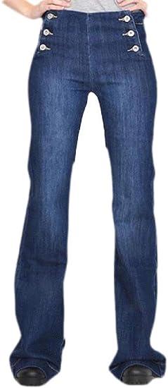 Macondoo レディース デニム カジュアル フレア ボタン ブーツ カット ストレッチ 苦しんだジーンズ