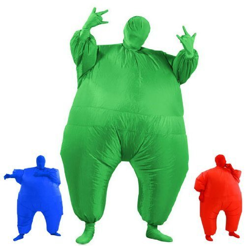 [AirSuits Inflatable Fat Chub Suit Second Skin Fancy Dress Party Costume - GREEN by AirSuits] (Inflatable Chub Suit Costume)
