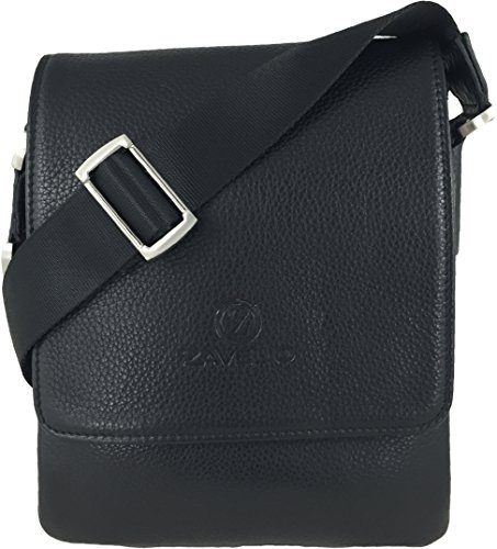 Zavelio borsa da uomo in vera pelle piccola con tracolla Black