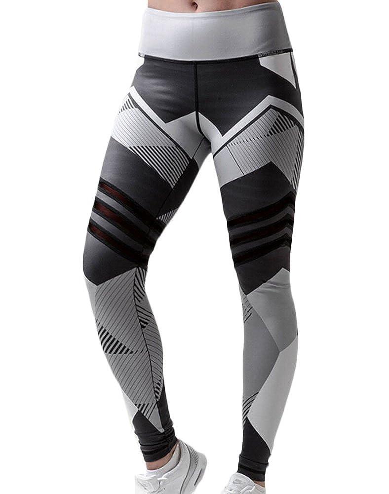 Faithtur Women's Geometric Printed Yoga Legging Pants High Waist Fitness Workout