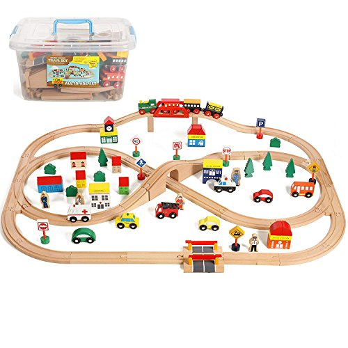 On Track USA 100 Piece All in One Wooden Train Set with Accessories, Comes in A Clear Container, Compatible with All Major Brands ()