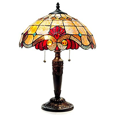 "Chloe Lighting CH15063AV15-TL2 Shelly Tiffany-Style 2 Victorian Table Lamp 14.5"" Shade 2 Light"