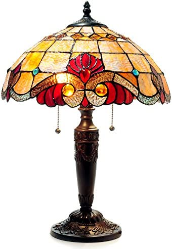 Meyda Tiffany 11923 2 Light Trellis Girl Lily Accent Lamp, 17 Height, Amber Purple