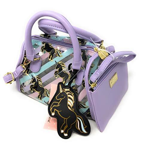 Betsey Johnson Lavender Striped Unicorn Top Handle or Crossbody HOBO Bag