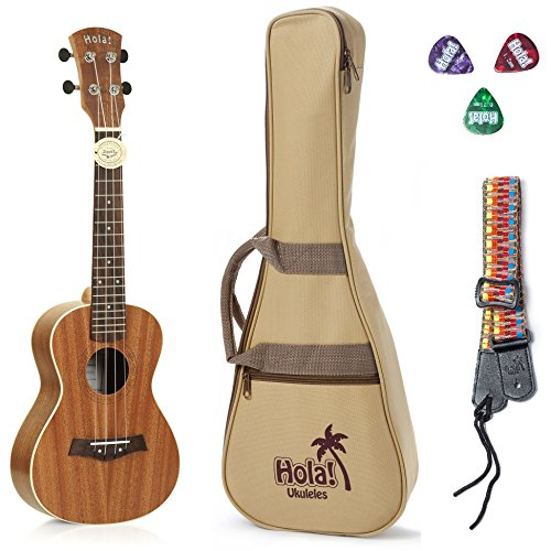 24-Inch Concert Ukulele with Aquila Nylgut Strings, Strap, Padded Gig Bag, and Picks (Mahogany HM-124MG+) - Hola! Music