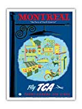 Montreal - The Paris of North America - Fly TCA (Trans-Canada Air Lines) - Vintage Airline Travel Poster by Jacques Le Flaguais c.1952 - Master Art Print - 9in x 12in