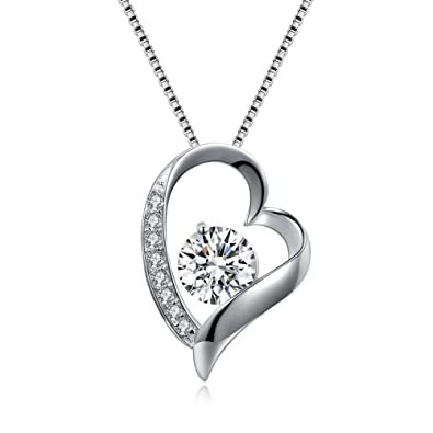 PHABBLE 925 Sterling Silver White Round Shaped Cubic Zircon With Classic Design Fashion Necklace Heart for Women in a Jewellery Box QsGWett7