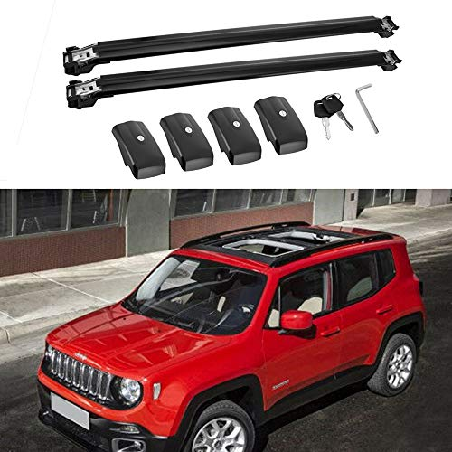 - MotorFansClub Lockable Roof Top Rail Roof Rack Cross Bars Luggage Rack Carrier for Jeep Renegade 2015 2016 2017 2018