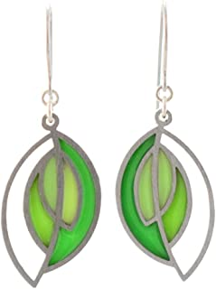 product image for Modern American Made Stainless Steel Abstract Green Leaf Earrings