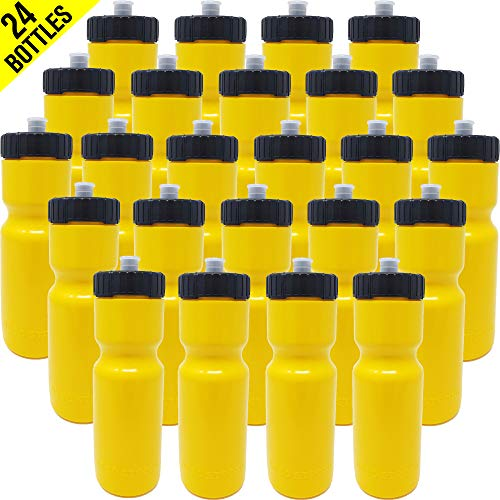 50 Strong Sports Squeeze Water Bottle Bulk Pack - 24 Bottles - 22 oz. BPA Free Easy Open Push/Pull Cap - Made in USA (Yellow)