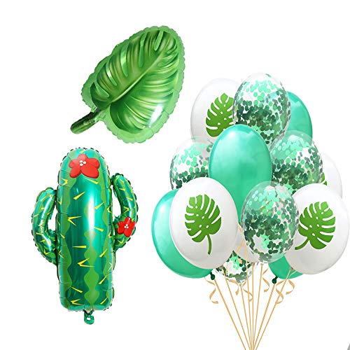 Beach Summer Tropical Party Theme Cactus Balloons Hawaii Party Decorative Leaves Mylar Balloon Colorful Confetti Balloons for Luau Party Decor Hawaiian Decorations Party Supplies -