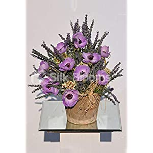 Silk Blooms Ltd Artificial Purple Fresh Touch Anemone and Heather Vase Display w/Ivory Waxflower 97