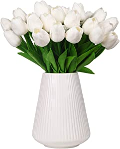 Momkids 30 Pcs Artificial Flowers Tulips Fake Faux PU Tulip Bouquet Real Touch Flower for Hotel Banquet Stage Home Living Room Dining Table Outdoor Balcony Garden Wedding Party Decor (White 12.5 Inch)