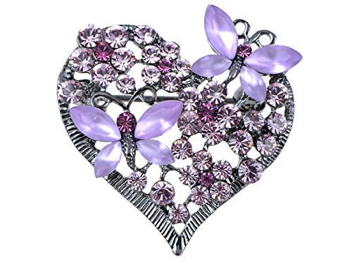 Alilang Womens Floral Butterfly Heart Silvery Tone Brooch Pin with Swarovski Crystal Rhinestones - Available In Red, Pink, Lavender, Blue or Clear Colors! (Pin Heart Rhinestone)