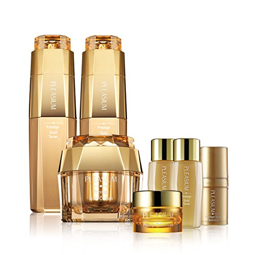 Charmzone Pleasium Prestige Gold 3 Kind Set | Toner, Emulsion, Cream + 4 free gifts