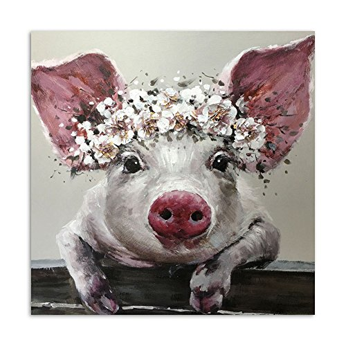 Toopia 1 Piece Canvas Wall Art Bristle Pig Wearing Wreath Painting Wall Pictures for Living Room Posters and Prints (NO Frame, 11.81x11.81inch(30cmx30cm)) -