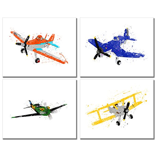Disney Planes Watercolor Prints - Set of 4 (8 inches x 10 inches) Wall Art Decor Kids Bedroom Photos
