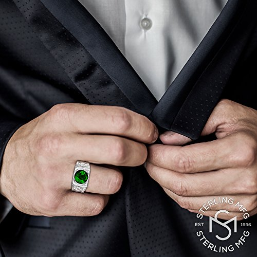 Men's Sterling Silver .925 Ring with Green Round Center CZ Stone and 2 White Cubic Zirconia (CZ) Stones by Sterling Manufacturers (Image #4)