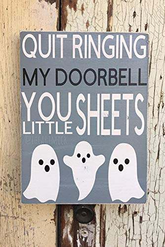 Emily Stop Ringing My Doorbell You Little Sheets 12 x 16 Inch Halloween Cute Ghosts Funny Hand Painted Wood Signs with Quotes Home Plaque