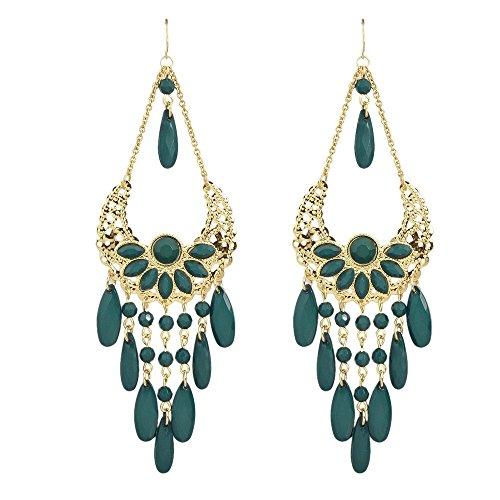 Green Beads Chandelier Earrings (Fashion Bohemian Jewelry Beads Flower Chandelier Dangle Earrings (Green))