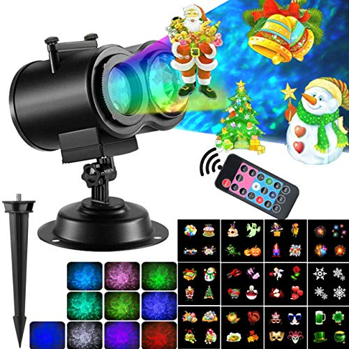 Festive Patterns - 2-In-1 Christmas Projector Lights With Ocean Waves 12 Moving Patterns, Festive Landscape LED Lights With Remote For Indoor Outdoor Xmas Themed Party Patio Yard Decors