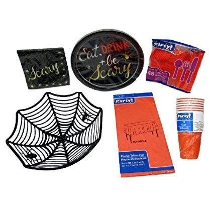 Halloween-Party-Theme-Paper-Plates-Napkins-Table-Cover-Plastic-Silverware-Cups-and-Serving-Bowl