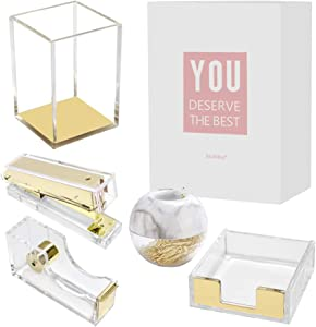 Multibey Clear Acrylic Office Supplies Desk Organizers, 5 in 1 Desktop Organization Accessories Set of Pen Holder Stapler Paper Clips Sticky Notes Pad Holder Tape Dispenser (Gold)