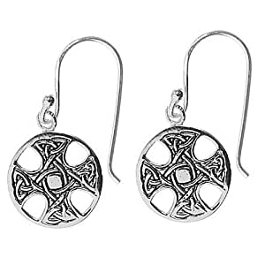 Sterling Silver Small Cut-Out and Etched Celtic Cross Circle Drop Earrings
