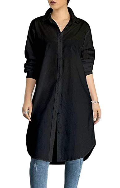 234cd7bbe Pandapang Womens Classic Button Front Long Sleeve Casual Solid Shirts Dress  Black X-Small
