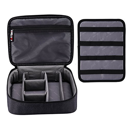 BUBM Large Electronic Accessories Carrying Organizer with Cable Tie- Black by BUBM