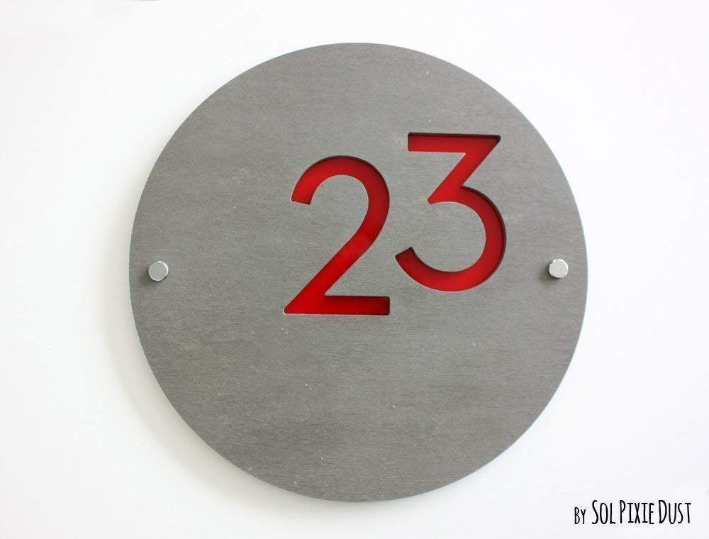Contemporary Home Address Modern House Numbers Red Acrylic Sign Plaque