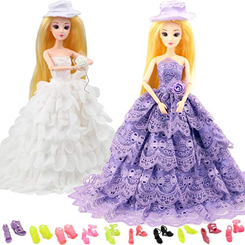 (MIBBQ 12pcs Doll Clothes Shoes Set 2 Princess Wedding Evening Party Dresses White Purple Bridal Gowns and 10 Pairs Shoes Boots Fit for 11.5