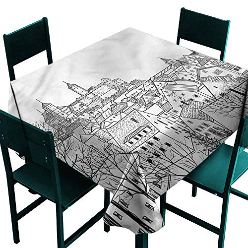 DONEECKL Antifouling Tablecloth Sketchy City with Gothic Roof Tops Party W36 xL36 -