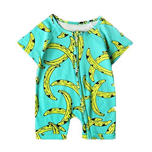 Infant Boys Zipper Up Romper Short Sleeve Banana Printing Basic Romper Coveralls (0-6M, Banana)