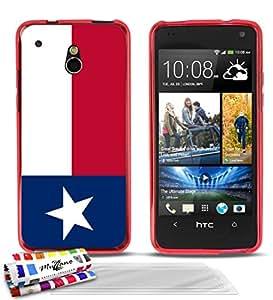 """Carcasa Flexible Ultra-Slim HTC ONE MINI (M4) de exclusivo motivo [Bandera Texas] [Roja] de MUZZANO  + 3 Pelliculas de Pantalla """"UltraClear"""" + ESTILETE y PAÑO MUZZANO REGALADOS - La Protección Antigolpes ULTIMA, ELEGANTE Y DURADERA para su HTC ONE MINI (M4)"""