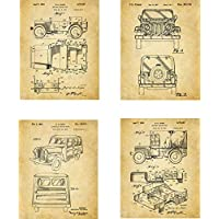 Jeep Patent Wall Art Prints - set of Four (8x10) Unframed - wall art decor for jeep 4x4 fans