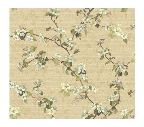 Wallpaper Blossom Apple - York Wallcoverings DC1303 Iridescent Apple Blossom Wallpaper, Soft Green