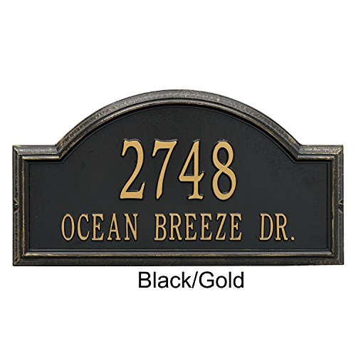 Arch Marker Wall (Whitehall Products Providence Arch Address Plaque - Estate Wall Plaque (Two Line Version), Black and Gold Letters - BG)