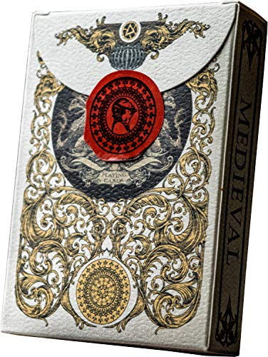 Medieval Gold Playing Cards, Deck of Cards, Cool Magic Cards, Best Poker Cards, Unique Illustrated Black & Red Colors for Kids & Adults, Playing Card Decks Games, Standard Size ()