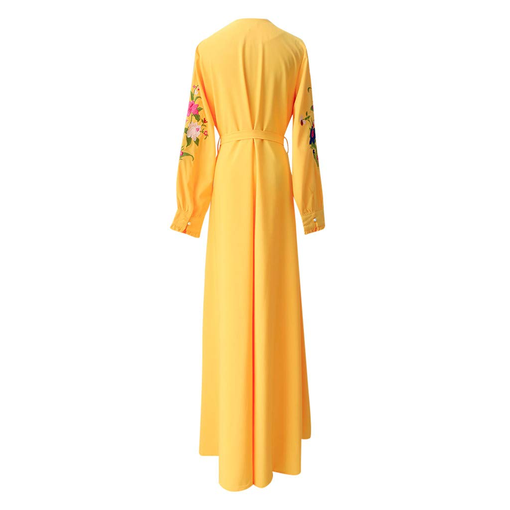 Euone Dress Clearance Muslim Maxi Dress Trumpet Sleeve Abaya Long Robe Gowns Tunic Belt
