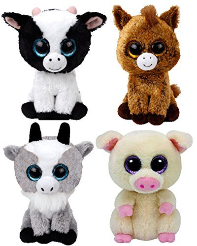 Valley Treasure Packs Ty Beanie Babies Farmyard Animals Gift Pack Bundle With Butter Cow, Piggley Pig, Harriet Horse and Gaby - Pig Beanie Stuffed Baby