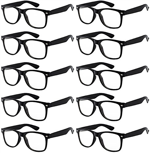 Price comparison product image Case of 10 Pairs Wholesale Kids Clear Lens Sunglasses Black